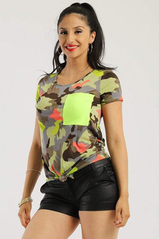 Image of My Bargain Boutique S Camo Front Tie Top