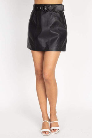 Image of My Bargain Boutique S Faux Leather Belted Mini Skirt
