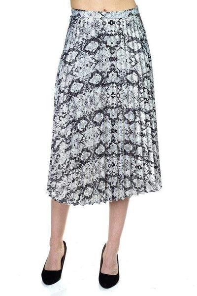 Pleated Snake Print Skirt - My Bargain Boutique - Affordable Women's Clothing