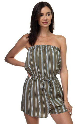 Image of My Bargain Boutique S Tube Top Stripe Romper