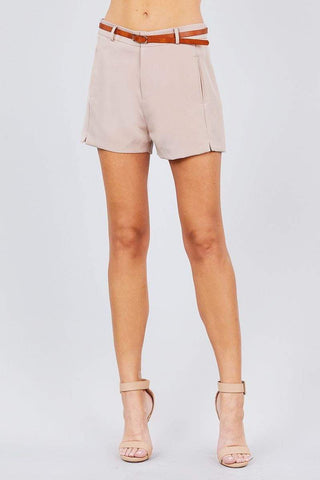 Image of My Bargain Boutique Sand Khaki / S Front Slit Hem W/pocket And Belt Short Pants