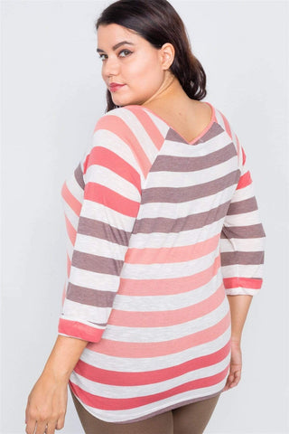 My Bargain Boutique Sheer Stripe Round Neck Top