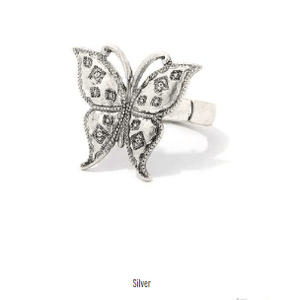 My Bargain Boutique Silver Butterfly Stretch Ring