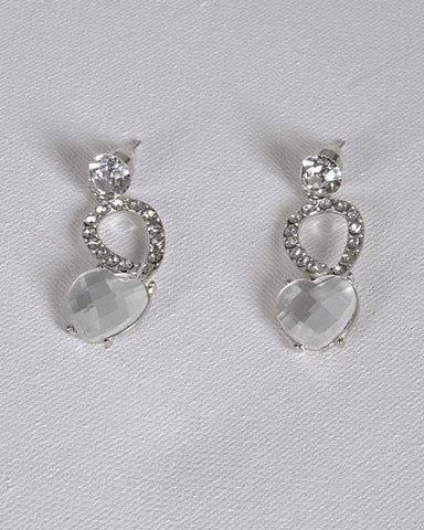 My Bargain Boutique Silver Crystal and Rhinestone Embellished Drop Earrings