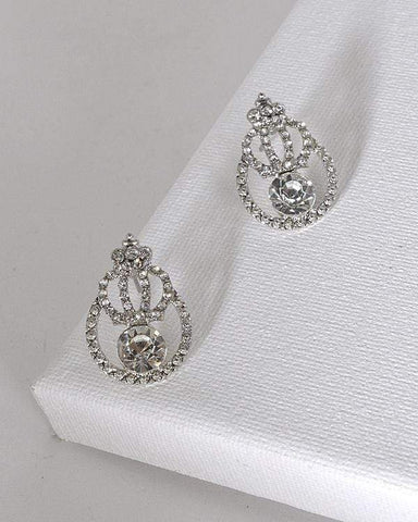 My Bargain Boutique Silver Crystal and Stone Studded Tear Drop Shaped Earrings