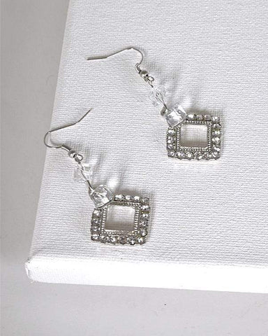 My Bargain Boutique Silver Crystal Studded Rhombus Shaped Earrings with Fishhook