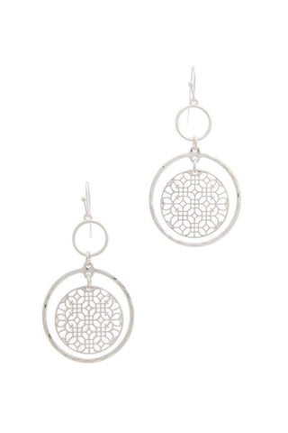 My Bargain Boutique Silver Double Circle Drop Earring