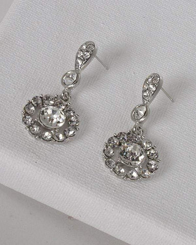 My Bargain Boutique Silver Drop Earrings with Post Back Closure