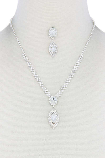 Women's Marquise Shape Necklace And Bracelet Set - My Bargain Boutique