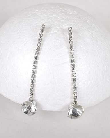 My Bargain Boutique Silver Rhinestones and Crystal Studded Drop Earrings