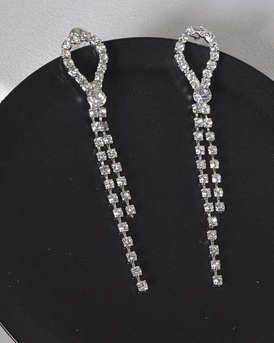 My Bargain Boutique Silver Stone Studded Drop Earrings