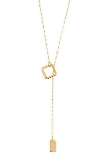 Square Lariat Pendant Necklace - My Bargain Boutique - Affordable Women's Clothing