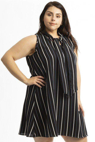 Image of My Bargain Boutique Stripe Black / 1XL Sleeveless Mini Dress