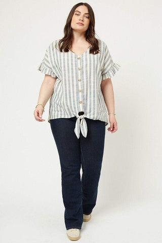 Image of My Bargain Boutique Stripe Linen Tie Front Top
