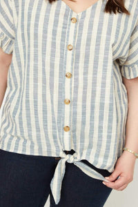 My Bargain Boutique Stripe Linen Tie Front Top