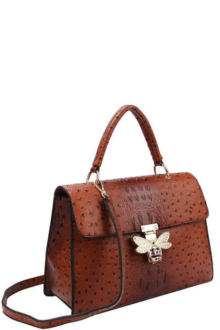 My Bargain Boutique Stylish Insect Buckle Satchel With Matching Wallet