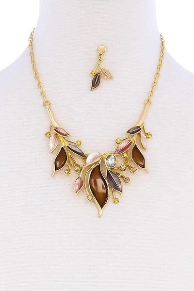 My Bargain Boutique Stylish Multi Rhinestone Leaf Necklace And Earring Set