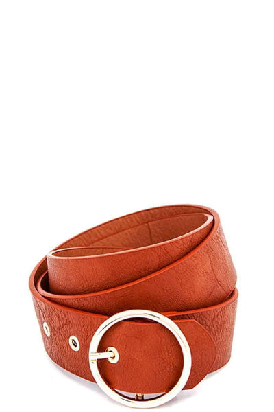 My Bargain Boutique Tan Round Buckle Frommet End Fashion Belt