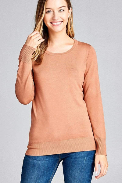 My Bargain Boutique Tan / S Ladies Fashion Long Sleeve Crew Neck Classic Sweater