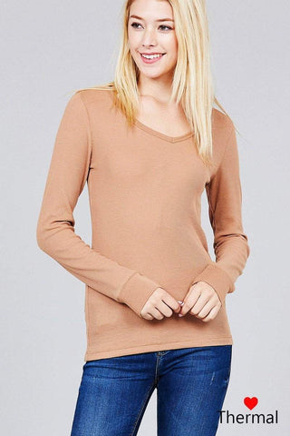 My Bargain Boutique Tan / S V-neck Thermal Top