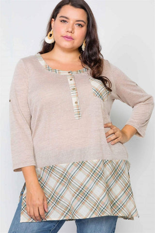 My Bargain Boutique Taupe / 1XL Plaid Combo Top