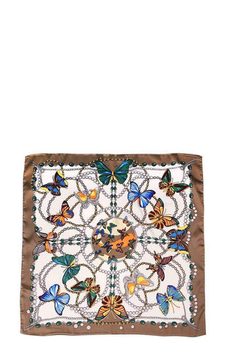 My Bargain Boutique Taupe Butterfly Silky Bandanna