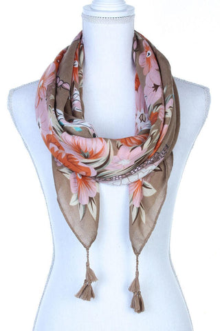 My Bargain Boutique Taupe Floral Pattern Tassel Oblong Scarf