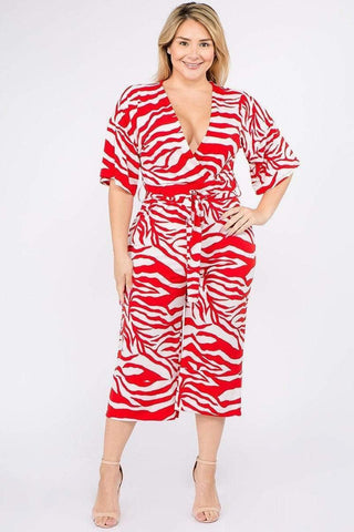 Image of My Bargain Boutique Taupe/Red / 1XL Multi Color Zebra Print Short Sleeve Jumpsuit