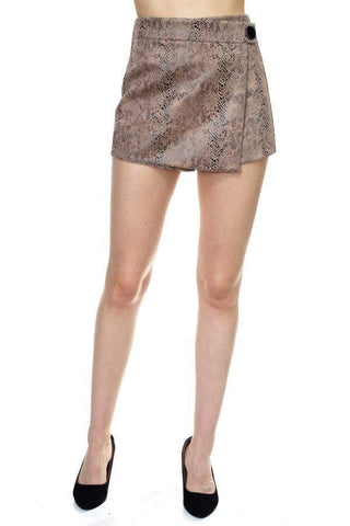 Image of My Bargain Boutique Taupe / S Faux Suede Mini Shorts