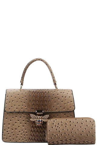 My Bargain Boutique Taupe Stylish Insect Buckle Satchel With Matching Wallet