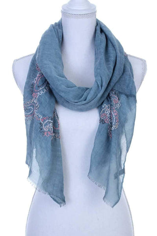 My Bargain Boutique Teal Sheer Embroidered Oblong Scarf