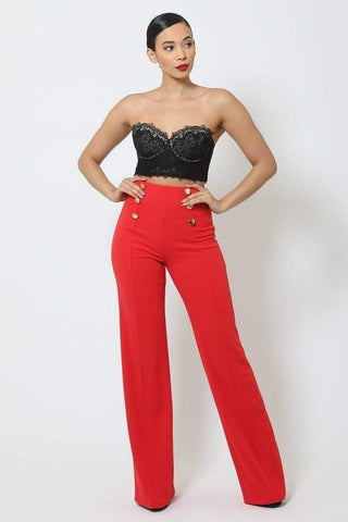 Image of My Bargain Boutique Tomato / S High-Waist Crepe Pants