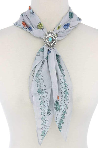My Bargain Boutique Turquoise Concho Scarf Slide