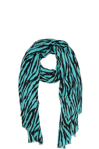 My Bargain Boutique Turquoise Modern Zebra Print Scarf