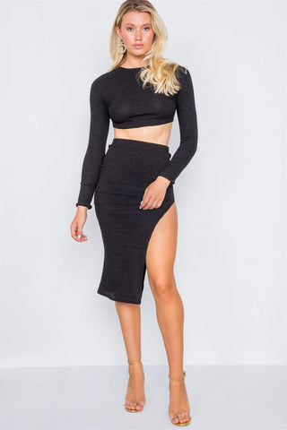Image of My Bargain Boutique Two Piece Crop Top Skirt Set
