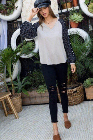 Image of My Bargain Boutique V Neck Long Sleeve Knit Top