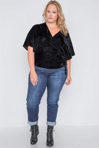 Image of My Bargain Boutique Velvet Side Tie Top