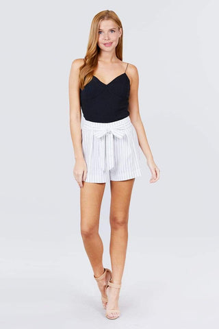 Women's Bow Tie Stripe Short Pants - My Bargain Boutique