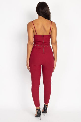 Image of My Bargain Boutique Waist Cutout Skinny Jumpsuit