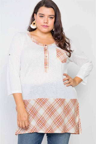 Image of My Bargain Boutique White / 1XL Plaid Combo Top