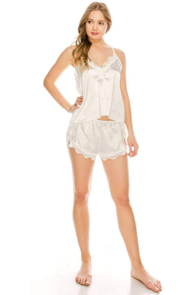 My Bargain Boutique White / S Satin Pj Short Set