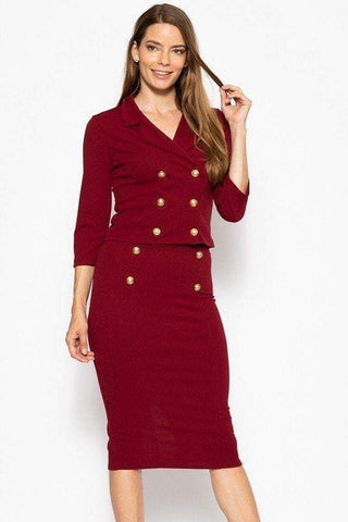 Image of My Bargain Boutique Wine / S Classic Skirt Suit Set
