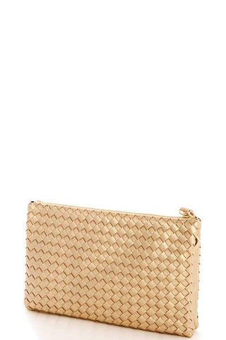 My Bargain Boutique Woven Clutch Crossbody Bag With Two Straps