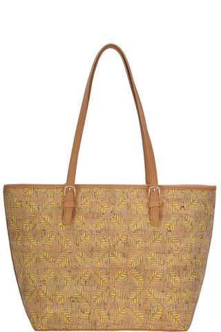 My Bargain Boutique Yellow Chic Trendy Cork Textured Fashion Pattern Shopper Bag