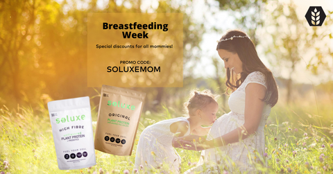 soluxe original and high fibre pea protein powder suitable for breastfeeding mom