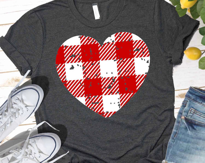 Red and White Buffalo Check Distressed Heart