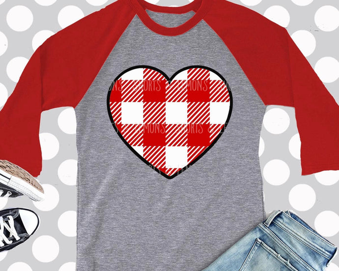 Red and White Buffalo Check Heart with Black Border