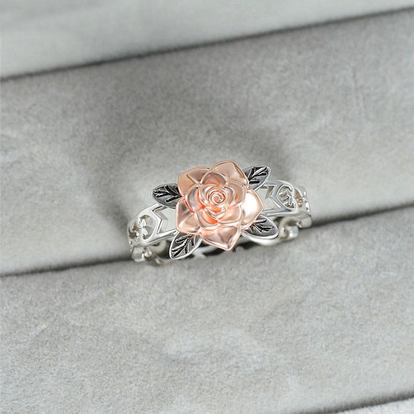 Two Tone Silver Floral Ring Solid Rose Gold Fashion Flower Jewelry