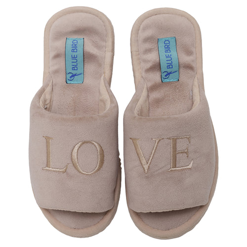slipper love veludo bege