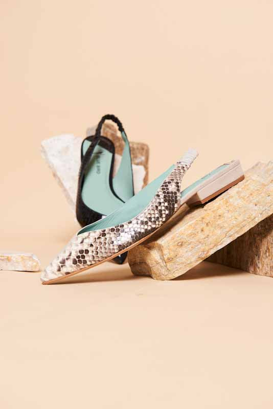 SLINGBACK FLAT DUO EXOTIC COURO